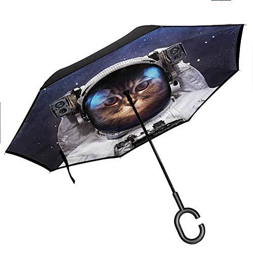 Anyangeight Space Cat Windproof Umbrella Kitty Suit in Cosmos Anti-UV Windproof Straight Umbrella, 42.5'x31.5'Inch