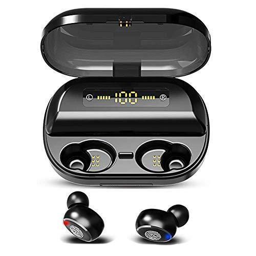 HYhon inalámbrico Auricular Bluetooth 5.0,IPX7 Impermeable Deportivo Auriculars,Earbuds Bluetooth con cancelación de Ruido,4000mAh Batería,HD Stereo,para Android Huawei Samsung iPhone(Negro)
