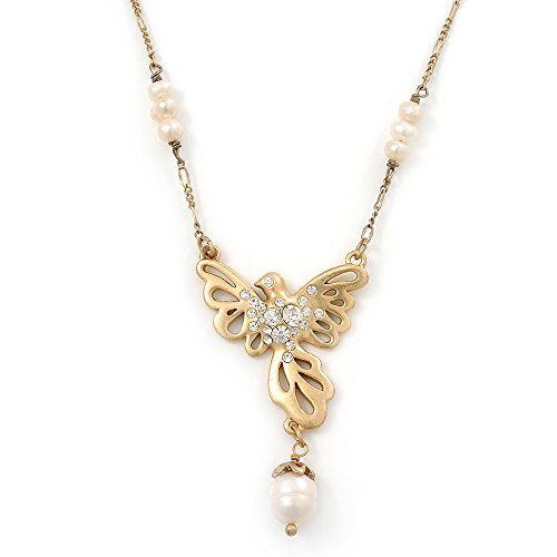 Cristal, grano de la perla colgante de paloma pájaro con tono de oro de cadena - 36 cm/L 8 cm Ext