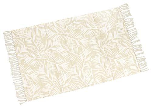 your castle Dekorativer Baumwoll Teppich Eingang Dünne Bodenmatte Teppich für Wohnzimmer Schlafzimmer Kinderzimmer in beige-weiß, Motiv: Blätter, 80 x 120cm