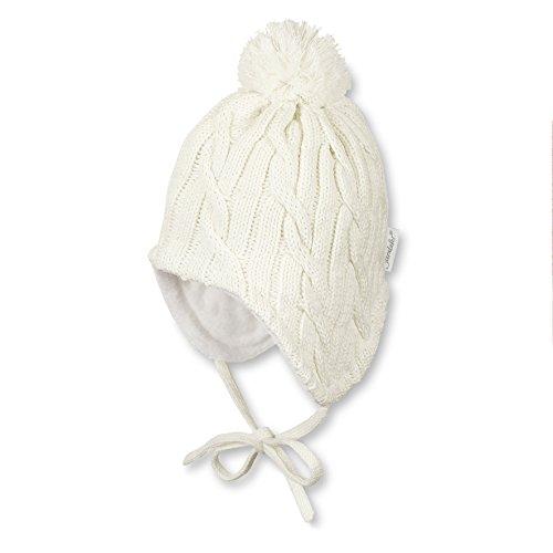 Sterntaler Unisex Mütze mit Bommel, Ohrenklappen, Bindebändern und Zopfmuster, Alter: ab 12-18 Monate, Größe: 49, Beige (Ecru)