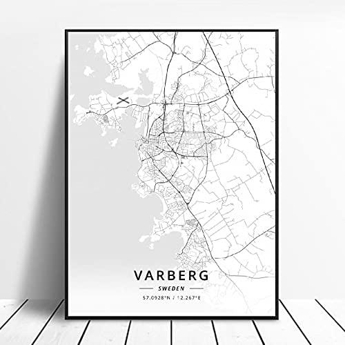 Falun Varberg Skovde Uddevalla Norrkoping Boras Sweden Canvas Art Map Poster ?ZW-480? Ingen ram poster 40x60cm