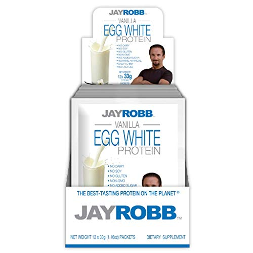 Jay Robb Egg White Protein Powder, Low Carb, Keto, Vegetarian, Gluten Free, Lactose Free, No Sugar Added, No Fat, No Soy, Nothing Artificial, Non-GMO, Individual Packet, Vanilla