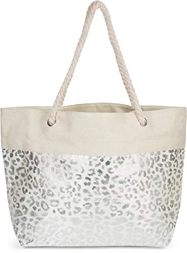 styleBREAKER Damen XXL Strandtasche mit Metallic Leoparden Animal Print und Reißverschluss, Schultertasche, Shopper 02012282, Farbe:Beige-Silber