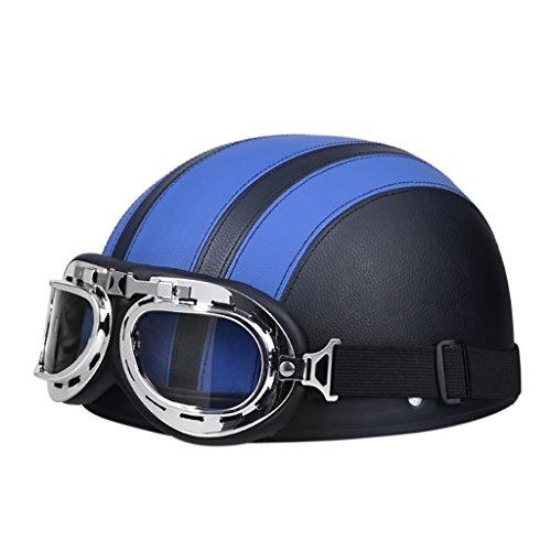 FLY® Casque, Demi-casque Rétro, Casque De Moto, Quatre Saisons Universelles (Couleur : Bleu)