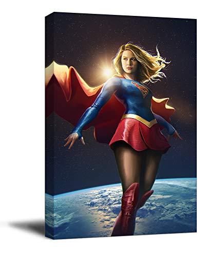 Supergirl Canvas Wall Art 12' x 18' Wooden Framed Superhero Superman Melissa BenoistCanve Artfor Boy & Girls Room Decor