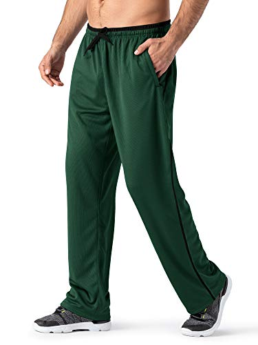 MAGNIVIT Trousers for Men Windbreaker Pants Casual Lightweight Jogging Workout Pants Green/Black
