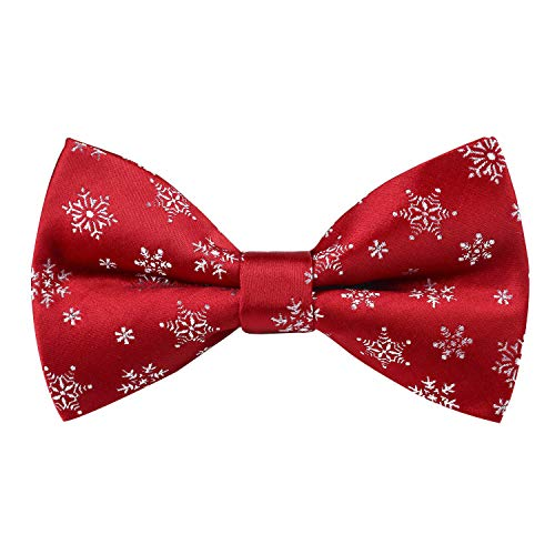 Alizeal Mens Red Background with Snowflake Pattern Pre-tied Christmas Party Bow Tie, 017