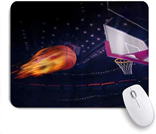 jingqi Disparar Baloncesto Vuela A La Canasta con Fuego Mousepad De Goma,Tapete De Ratones,Gaming Mouse Pad Mat,Alfombrilla De Ratón De Juego