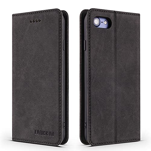 MOONCASE Funda para iPhone 7 Plus/8 Plus, Estuche Billetero de Cuero Ultrafino con Estuche con Tapa para Tarjetero Funda Protectora para iPhone 7 Plus/8 Plus 5.5' - Black