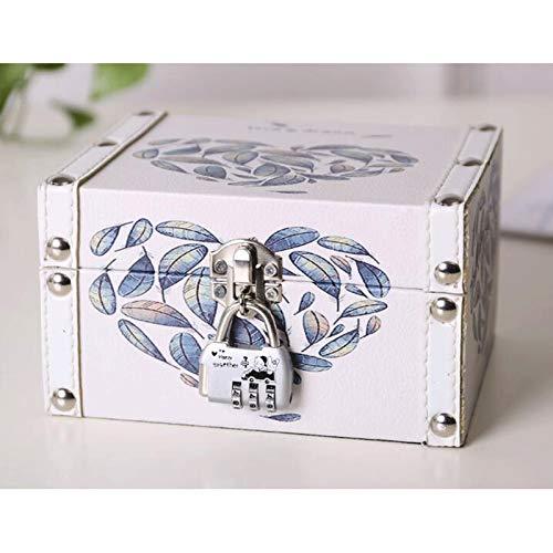 GAONAN Caja de joyería Premium Organizer Mujeres Grandes Caja de almacenamiento de joyas de viaje con cerradura y llave para collar, pendiente, anillo, joyería de pulsera Caja de almacenamiento de joy