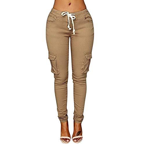 LAEMILIA Damen Stretch Beiläufig Skinny Hose Freizeithose in Khaki, Grün,Weiß (40, Leichtes Khaki)