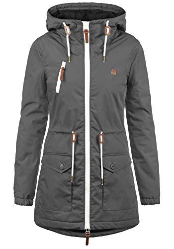 DESIRES Tilonga Damen Übergangsparka Parka Übergangsjacke Lange Jacke mit Kapuze, Größe:M, Farbe:Dark Grey (2890)