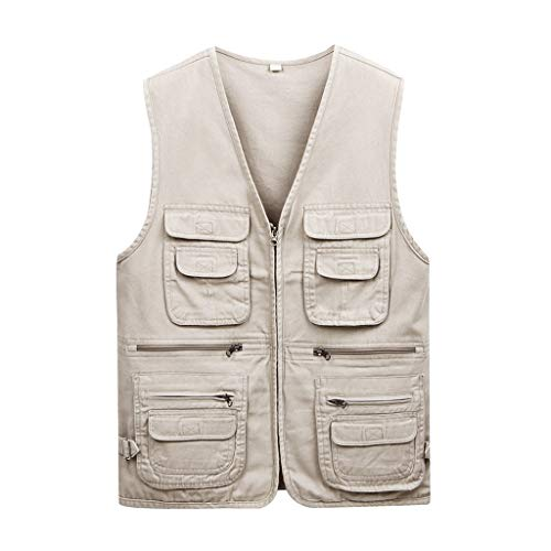 Herren Weste Baumwolle Outdoor Weste Angelweste dünne Weste Multi-Pocket Weste (Farbe : Weiß, größe : XL)