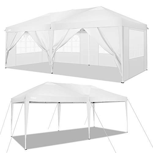 COBIZI 10'x20 'Baldacchino pop-up Tenda per feste di matrimonio Tenda per ripostiglio Gazebo per esterni Tettoia da campeggio per spiaggia con 6 pareti laterali rimovibili