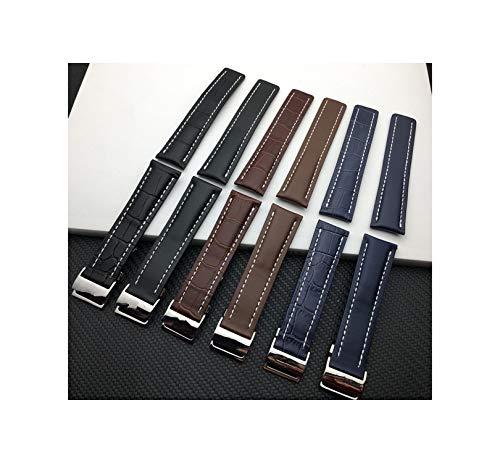 Cinturino di cuoio del cinturino Nero Marrone Blu morbida cinturini per Breitling Uomo la cinghia con gli strumenti, pelle blu piatto 20mm Argento Fibbia