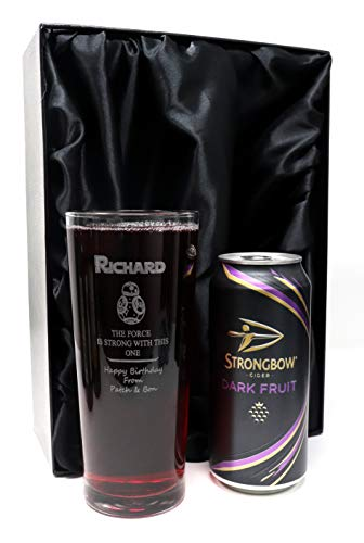 Personalised Pint Glass & Cider in Silk Lined Gift Box - Star Wars BB8 Design (Strongbow Dark Fruit)