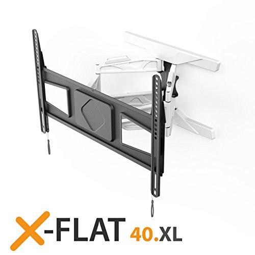 exelium xFlat 40XL Supporto da parete per TV (32-75 pollici), girevole (+/- 5 °), orientabile (+/- 45 °), inclinabile (+ / + 15 °), massimo 50 kg, distanza dalla parete 39-470 mm, VESA 600x400