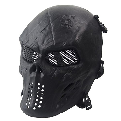 HCFKJ Airsoft Paintball Full Face Schädel Skelett CS Maske Halloween (SCHWARZ)