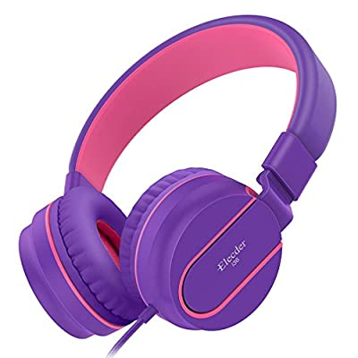 Elecder i36 Kids Headphones Children Girls Boys Teens Foldable Adjustable On Ear Headphones 3.5mm Jack Compatible iPad Cellphones Computer Kindle MP3/4 Airplane School Tablet Purple/Red