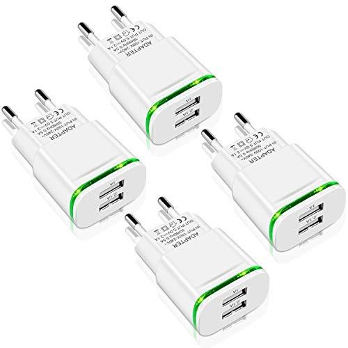LUOATIP Caricatore USB da Muro, 4-Pack 2.1A/5V Caricabatterie Alimentatore Presa USB 2 Porte, Spina Compatibile per iPhone 11 XS Max XR X 8 7 6, Samsung, Huawei, Android, Xiaomi