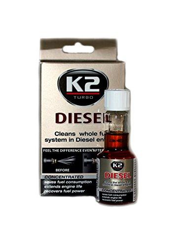 K2 - Aditivo concentrado para limpiar los inyectores y el sistema de carburante para disminuir las emisiones, para motores diésel, 50 ml