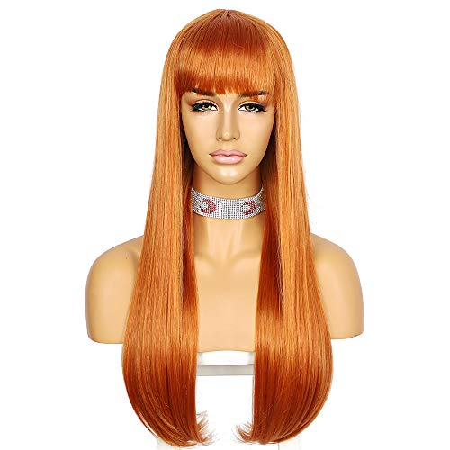 Sapphirewigs Wigs With Bangs Long Big Wavy Wig Synthetic Fiber Orange Hair Glueless Wig Full Machine None Lace Front Wig For Women