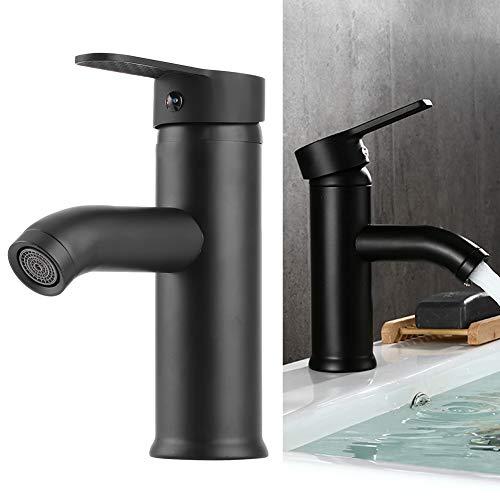 Cascada Grifo de caño de acero inoxidable Lavabo de baño Grifo de lavabo Moderno Monomando comercial Grifo Lavabo Agua caliente fría Mezclador Grifo Negro(Low Type)