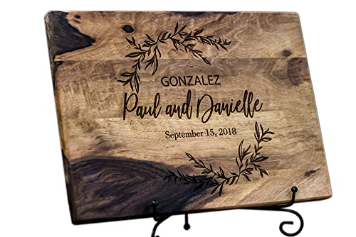 Walnut Personalized cutting board Wood Anniversary Gifts or Wedding Gift - for couple or bride, Engraved cutting board, Custom cutting board, Bridal shower gift