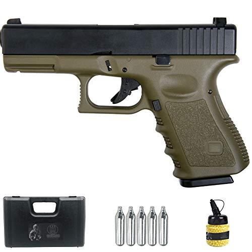 Saigo GLK 23 Verde | Pistola de Airsoft Sistema: Gas semiautomática Tipo Glock 23 + maletín y Accesorios