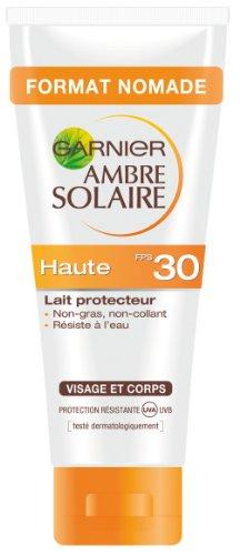 Garnier - Ambre Solaire - Crème solaire lait - FPS 30 Haute protection Lait protecteur Visage et corps Format nomade