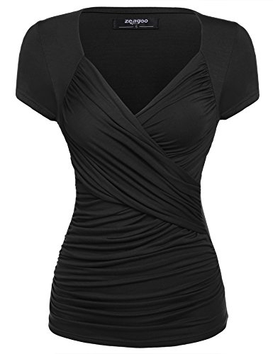 Zeagoo Women's Cross-Front V Neck Pullover T-Shirt Ruched Blouse Top (XXX-Large, Black)
