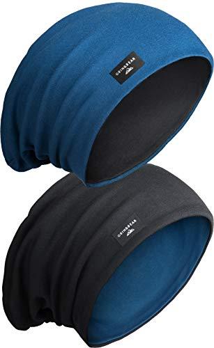 Grin&Bear Unisex Reversible (2 Farben) Lange Slouch Beanie Mütze M81-4
