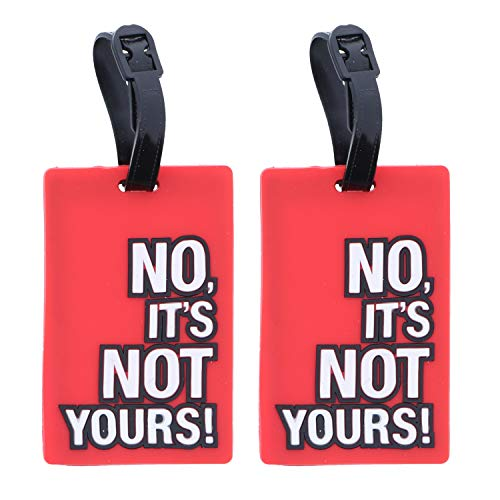 Red No Its Not YoursHumor ID Holder for Suitcases - 2 Pack