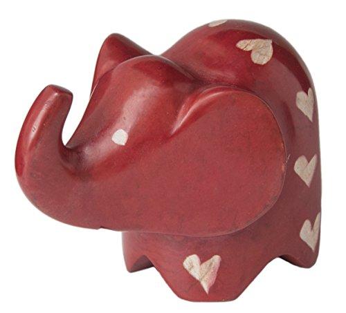 Mr. Ellie Pooh Handmade Fair Trade Soapstone Carved Big Ears Red Elephant - Figurine/Sculpture
