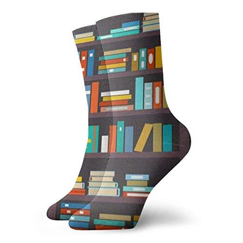 Hangdachang Calcetines deportivos informales, biblioteca sin costuras para estantería, biblioteca, fila de estantes, literatura y escuela, poliéster, 11.81 pulgadas