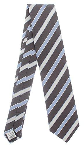 Seidenkrawatte gestreift braun blau 100% Seide Krawatte von Monti Herren Streifen 8cm