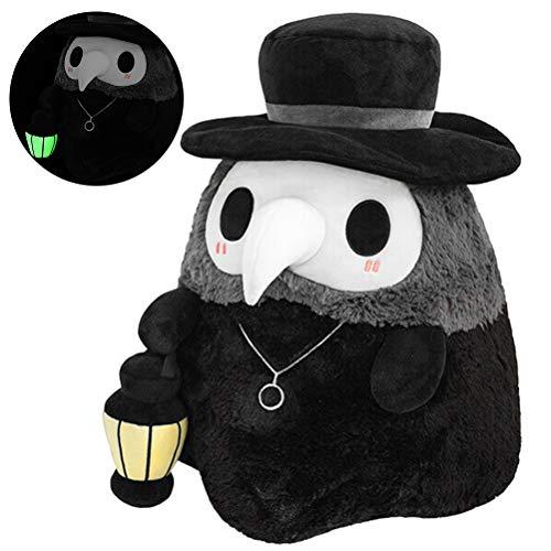 Peluche mullido para doctor de la plaga de peluche, juguete de peluche luminoso, suave y encantador para la fiesta de la muñeca del partido, adecuado para la decoración de Pascua y Halloween, negro