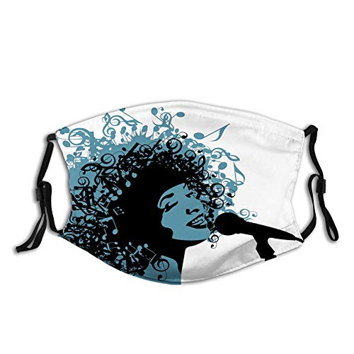 Nisdsgd Fashion 3D Face Protect Printed Gesichts-Mundschutz,Abstract Jazz Themed Image with Woman Singer with Afro Music Note Hair