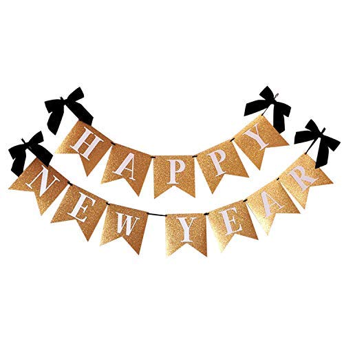 Happy New Year Banner for NYE Decorations 2021 - Gold Real Glitter, No DIY Required | New Years Eve Party Supplies 2021 |Happy New Year Sign for New Year Backdrop| Happy New Year Decorations 2021