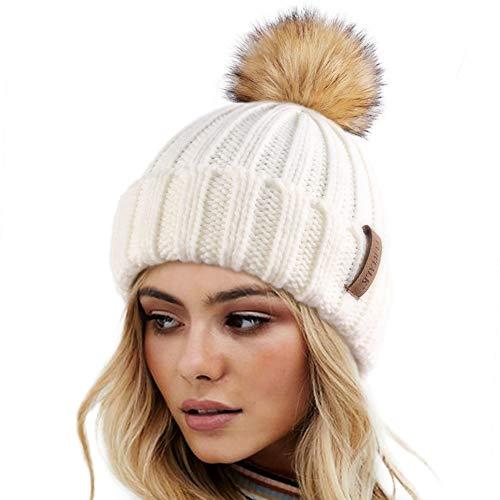 FURTALK Womens Winter Knitted Beanie Hat with Faux Fur Pom Warm Knit Skull Cap Beanie for Women