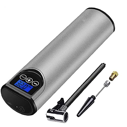 Runfon Bomba de Bicicleta eléctrica para Bicicletas 12V 150PSI Mini inflador de Aire Recargable con Pantalla Digital de Plata