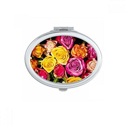 DIYthinker Blanc Big-Sized foncé Roses Ovale Maquillage Compact Miroir de Poche Portable Mignon Petit Miroirs Main Cadeau Multicolor