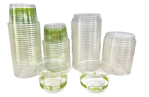 4 Ounce Compostable Corn Plastic Cups with Lids - 50 Pack
