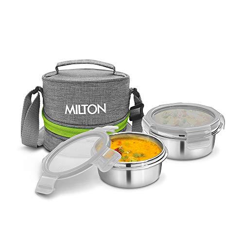 Milton Chic 2 Stainless Steel Tiffin Box, Set of 2, Grey