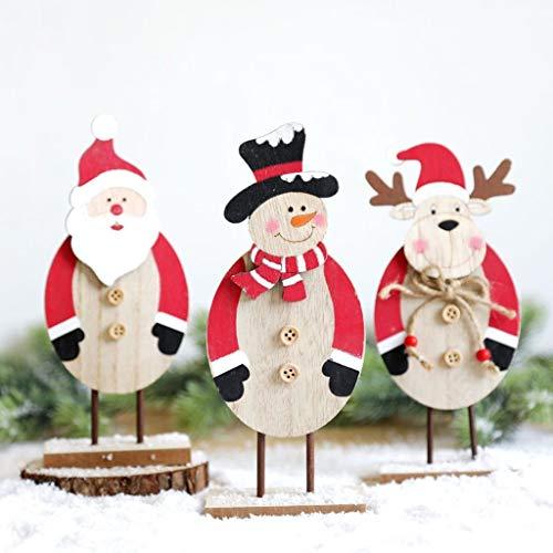 Dasongff Kerstmis decoratie, kerstboom boomversiering sticker kerstthema decoratie kerstdecoratie van hout stereoscopisch geschilderd Santa ornamenten wooncultuur 1 pc C