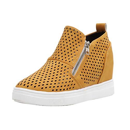LANSKIRT Botines de Mujer Invierno Calados Zapatos Casuales de Planos con Doble Cremallera Botas Mujer Verano Otoño 2019 35 EU - 43 EU