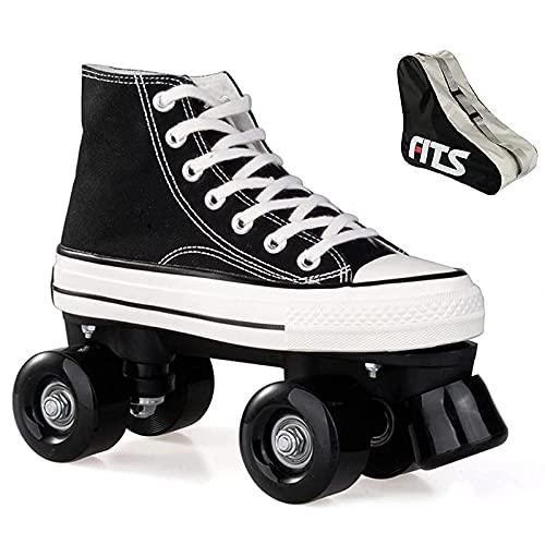 XRDSHY Patines Roller para Mujer Botas Patines Doble Fila 4 Ruedas Hombre Adulto Zapatos De Patinaje Patines para Niños Niñas Diseño Retro para Principiantes Al Aire Libre,black-37