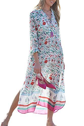 L-Peach Damen Sommer Kaftan Maxi Langes Strandkleid Pareos Sommerkleider Bikini Cover Ups (Einheitsgröße, Weiß Rose)
