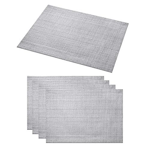 Delindo Lifestyle Tischsets Platzsets Samba, abwaschbar, grau, 30x45 cm, 4er-Set, Tisch Unterlage ist abwischbar